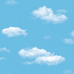 Ada Kids 8904-1 Mavi Bulut Desenli Duvar Kağıdı