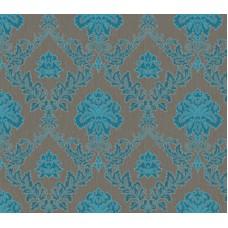Gordion 2602-3 Turkuaz Damask Desenli Duvar Kağıdı