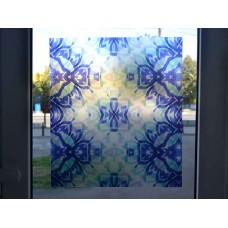 Alkor 280-0116 Mavi Desen Kendinden Yapışkanlı Cam Vitray Folyo