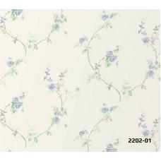 Bossini 2202-01 Mavi Çiçekli Duvar Kağıdı