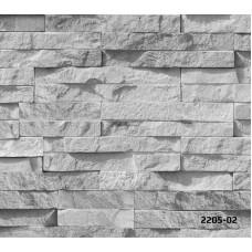 Bossini 2205-02 Gri Yatay Taş Desenli Duvar Kağıdı