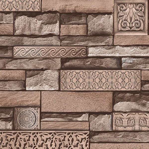 Harmony 105-D İşlemeli Taş Desenli Duvar Kağıdı