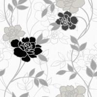 Harmony 150-D Siyah Gri Çiçekli Duvar Kağıdı