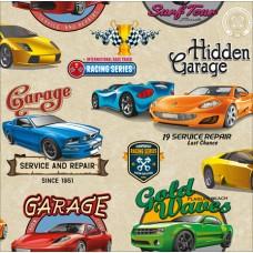 New Art 1022-A Spor Arabalar Görünümlü Duvar Kağıdı
