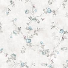 Design Plus 13131-2 Mavi Çiçekli Vinil Duvar Kağıdı
