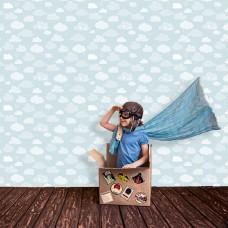 Kids Collection 15156-3 Mavi Bulut Görünümlü Duvar Kağıdı
