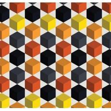3D Art 7027 Renkli Küp Desenli Duvar Kağıdı