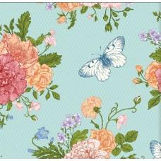 Floral Collection 5024 Mavi Kelebek Görünümlü Duvar Kağıdı