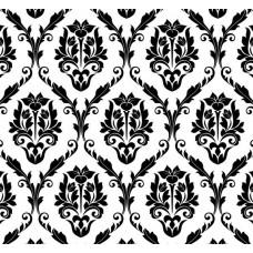 New Selection 308-2 Siyah Beyaz Damask Duvar Kağıdı