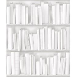 Virtual Reality J43090 Beyaz Kitap Desenli Duvar Kağıdı