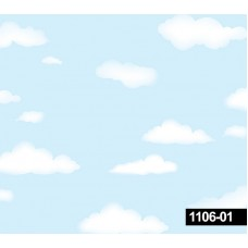 Decokids 1106-01 Mavi Bulut Desenli Duvar Kağıdı