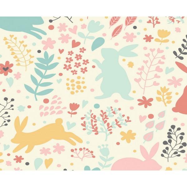 Grown Baby 151-1 Tavşan Desenli Duvar Kağıdı