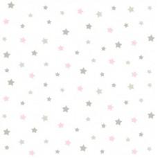 Lindo 240812 Pembe Gri Yıldız Desenli Duvar Kağıdı