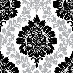 New Art 1056-A Siyah Gümüş Damask Desen Duvar Kağıdı