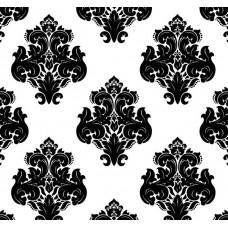 New Selection 307-1 Siyah Beyaz Damask Desen Duvar Kağıdı