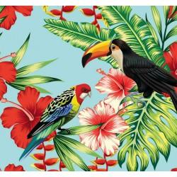 New Selection 341-1 Tropikal Kuş Desenli Duvar Kağıdı