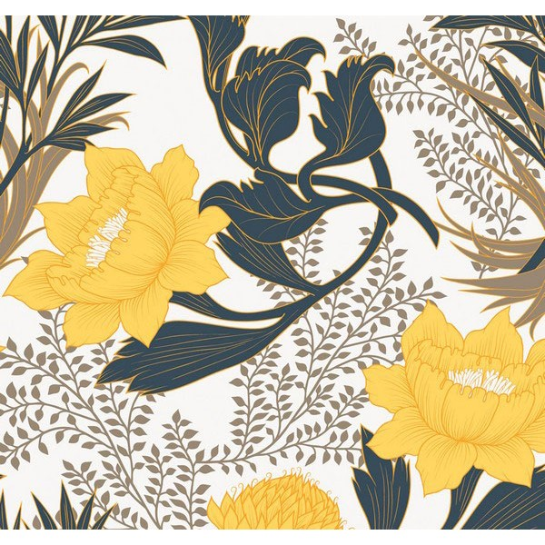 New Selection 343-1 Sarı Çiçekli Duvar Kağıdı